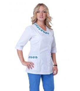 Медицинский женский костюм с вышивкой (бирюза) К-2255