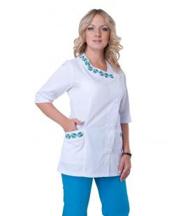 медицинский женский костюм с вышивкой К-2255 бирюза