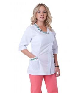 Медицинский женский костюм с вышивкой (персик) К-2258