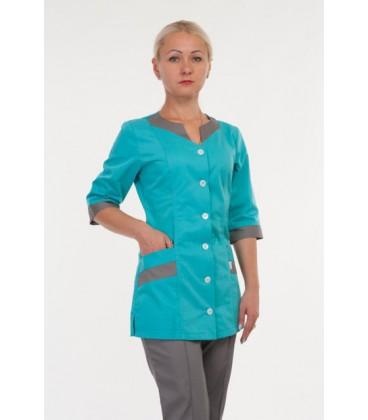 Красивый медицинский женский костюм ( серый с бирюзой ) 3234