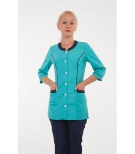 Медицинский женский костюм 4282 синий с бирюзой