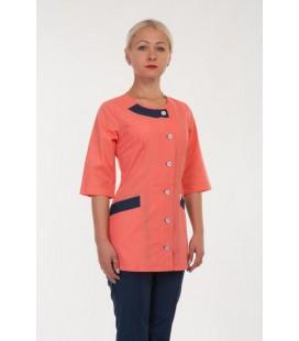 Медицинский женский костюм 4288 персик-синий