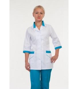 Красивый медицинский женский костюм (белый с синим ) 3236