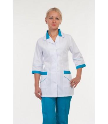 Красивый медицинский женский костюм (белый с синим ) 3232