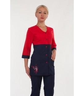медицинский женский костюм с бабочкой 2291 красный