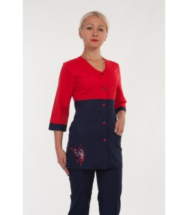 Модный медицинский женский костюм с бабочкой ( красный ) 2291