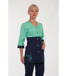 Модный медицинский женский костюм с бабочкой ( зеленый ) 2290