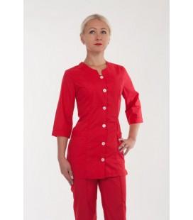 медицинский женский костюм красный 2283