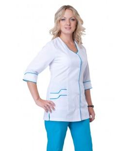 медицинский женский костюм с голубой окантовкой К-2204