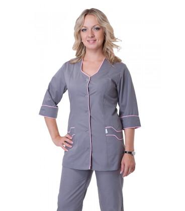 Серый медицинский женский костюм с окантовкой К-2233