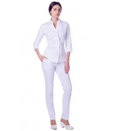 женский медицинский костюм 1216-2 Камила белый