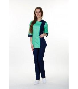 Медицинский костюм 0058-1 Ольга коттон трава с синим