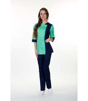 медицинский костюм 0058-1 Ольга коттон синий