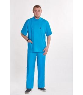Мужской медицинский костюм 1342 Стоматолог бирюзовый
