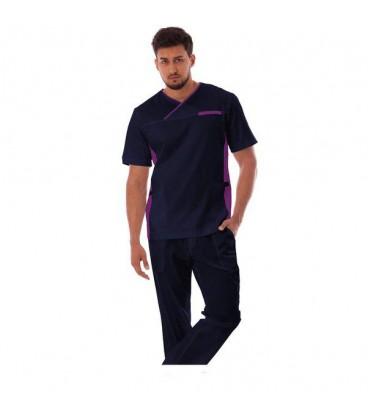 мужской медицинский костюм Орэст 1345-1 тёмно синий с фиолетовым