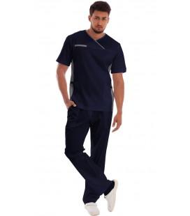 Мужской медицинский костюм Орэст 1345-2 тёмно синий с серым