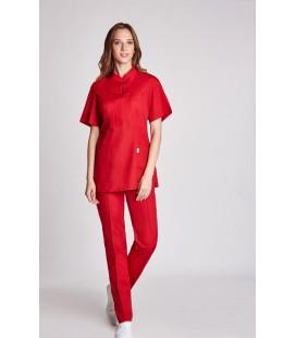 женская медицинская куртка Мико 1356-4 красный коттон