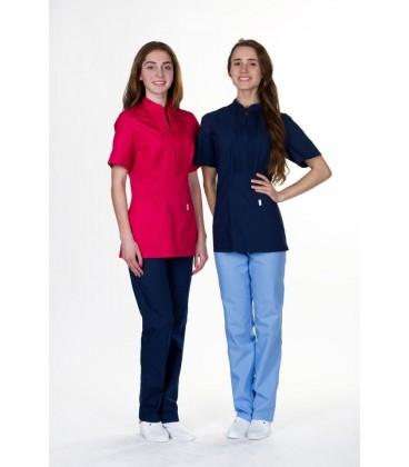 женская медицинская куртка Мико 1357-1 тёмно синий батист