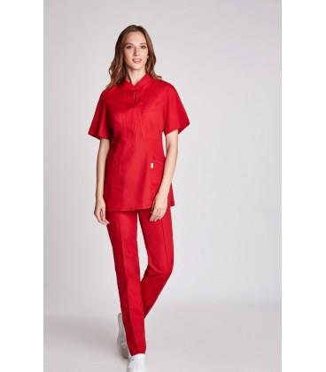женская медицинская куртка Мико 1358-4 красный батист