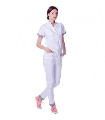 женский медицинский комбинезон 1367-1 белый