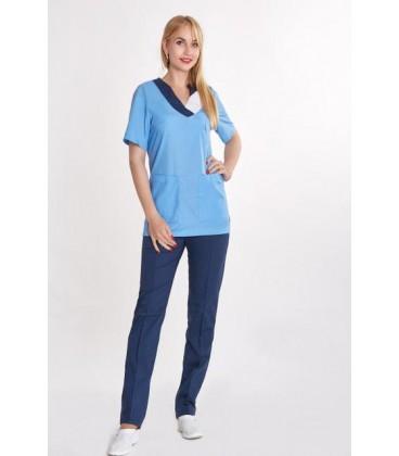 женский медицинский костюм Ванесса 0069-2 голубой