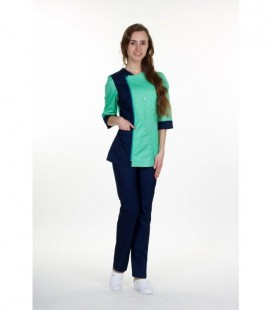 Медицинский костюм 0058-4 Ольга батист трава с синим