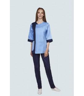 Медицинский костюм 0058-6 Ольга батист голубой с синим