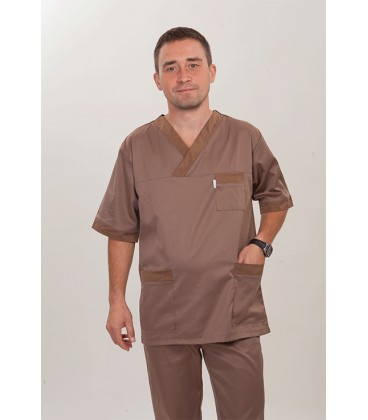 мужской медицинский костюм 3237 коричневый