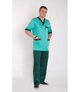 мужской медицинский костюм Мустанг 1344 светло зелёный