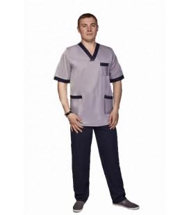 Мужской медицинский костюм Мустанг 1344-2 серый