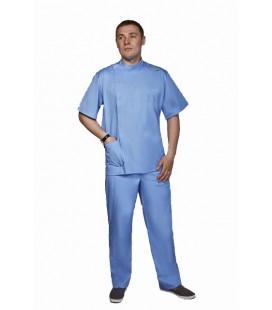 Мужской медицинский костюм 1342 Стоматолог голубой