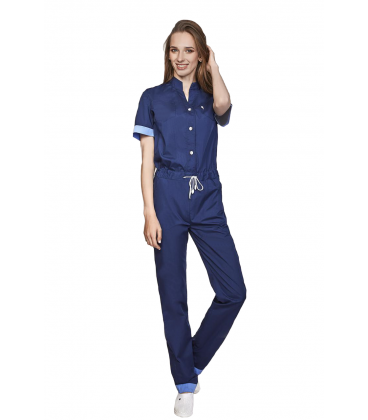 женский медицинский комбинезон 1367-3 тёмно синий