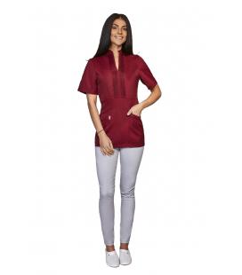 женская медицинская куртка Мико 1356-5 бордо коттон