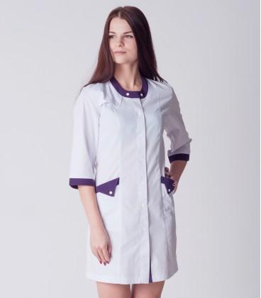 медицинский халат Валерия 0077 белый коттон