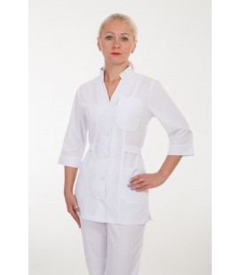 Медицинский костюм 4210 белый с поясом