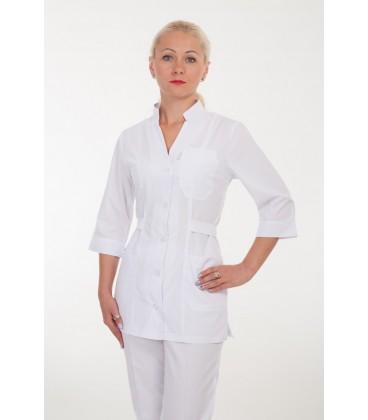 Медицинский костюм К-2210 белый с поясом