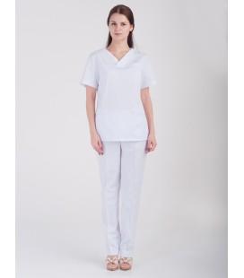 Медицинский костюм 0084-1 Лилия коттон белый