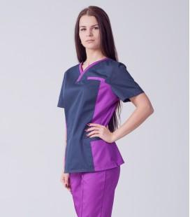 Медицинский костюм 0084-2 Лилия коттон виноград-синий