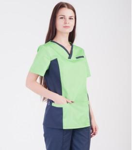Медицинский костюм 0084-4 Липа коттон лимон-синий