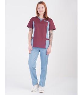 Медицинский костюм 0084-4 Лилия коттон лимон-синий