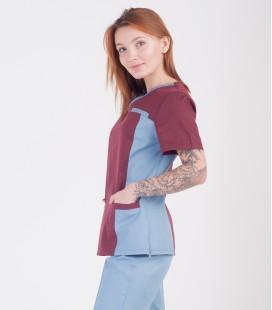Медицинский костюм 0084-5 Липа коттон шоколад-серый