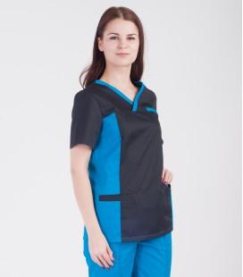 Медицинский костюм 0084-6 Липа коттон бирюза - черный