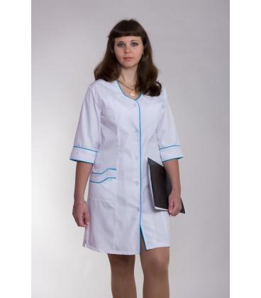 Медицинский женский халат 4109 с окантовкой
