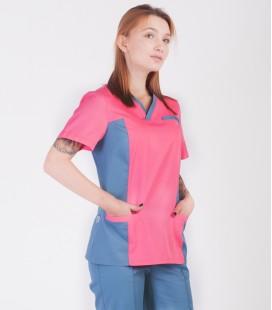 Медицинский костюм 0084-3 Лилия коттон коралл-серый