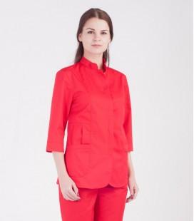 Медицинская куртка Розалия 1370-4 коттон красная