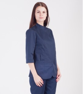 Медицинская куртка Розалия 1370- коттон синяя