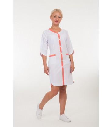 Медицинский женский халат 4159 с коралловым
