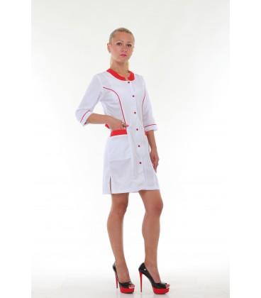 Медицинский женский халат 4166 с красной окантовкой