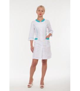Медицинский женский халат 4167 с бирюзовой окантовкой