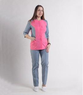 Женский медицинский костюм 0064-4 Эрика коралл-серый